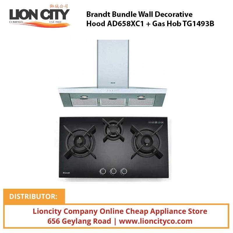 Brandt Bundle Wall Decorative Hood AD658XC1 + Gas Hob TG1493B - Lion City Company