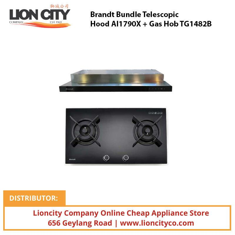 Brandt Bundle Telescopic Hood AI1790X + Gas Hob TG1482B - Lion City Company