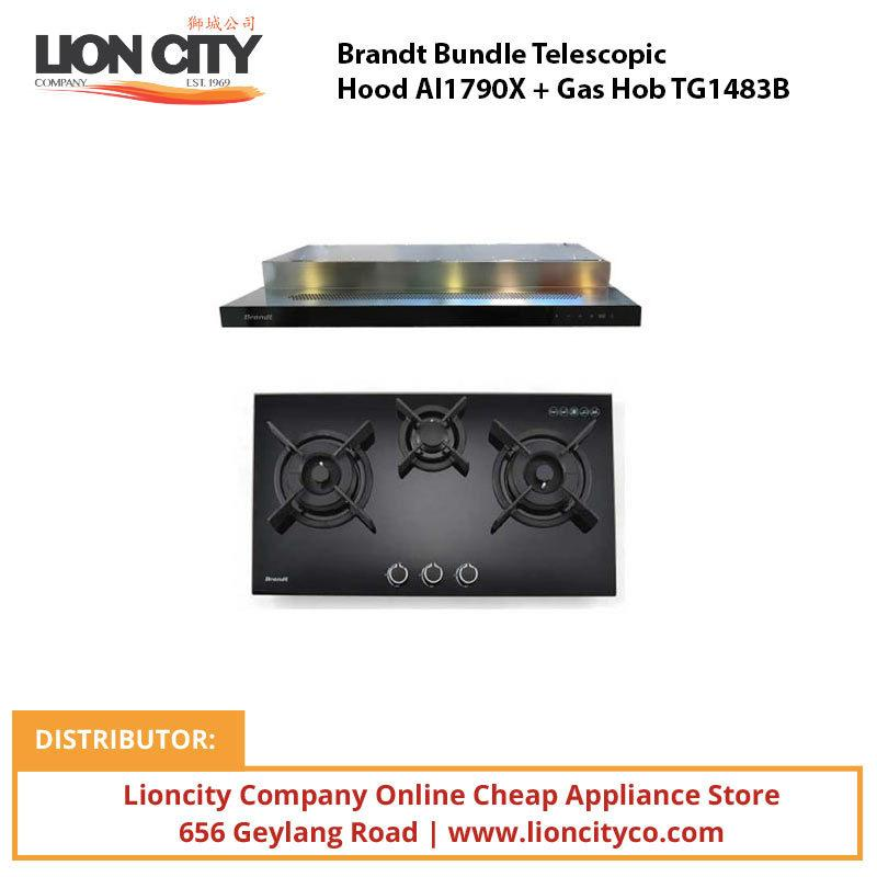 Brandt Bundle Telescopic Hood AI1790X + Gas Hob TG1483B - Lion City Company