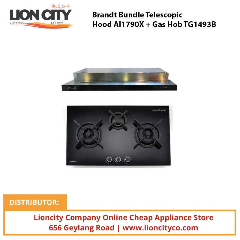 Brandt Bundle Telescopic Hood AI1790X + Gas Hob TG1493B - Lion City Company
