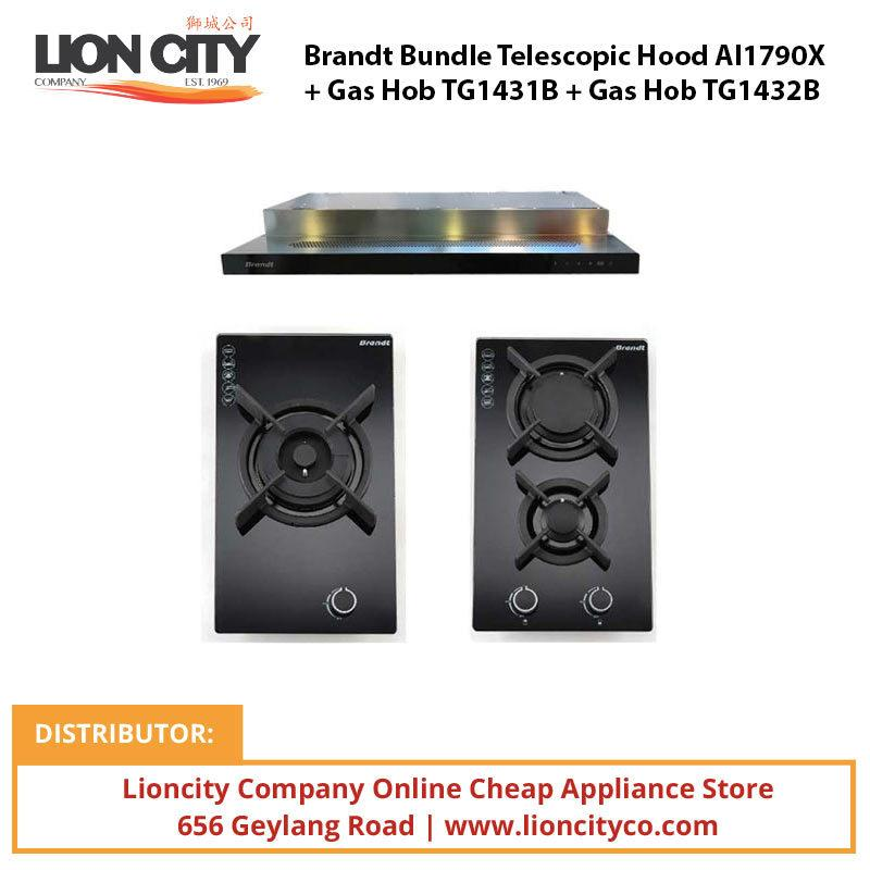 Brandt Bundle Telescopic Hood AI1790X + Gas Hob TG1431B + Gas Hob TG1432B - Lion City Company