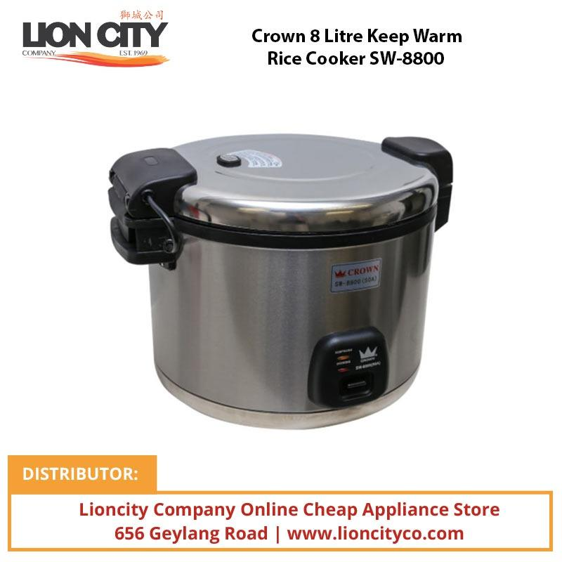 Crown 8 Litre Keep Warm Rice Cooker SW8800 - Lion City Company