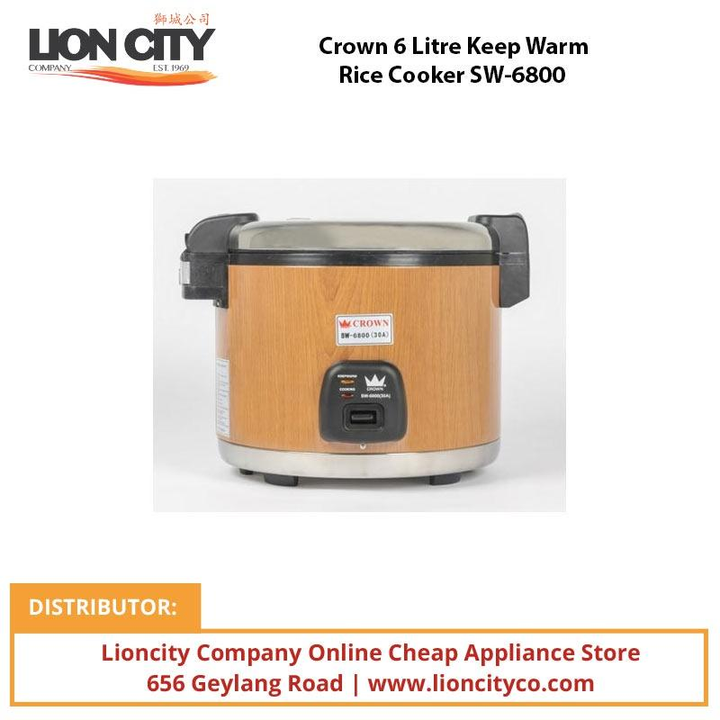 Crown 6 Litre Keep Warm Rice Cooker SW6800 - Lion City Company
