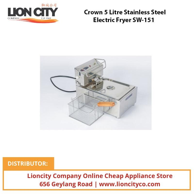 Crown 5 Litre Stainless Steel Electric Fryer SW151 - Lion City Company