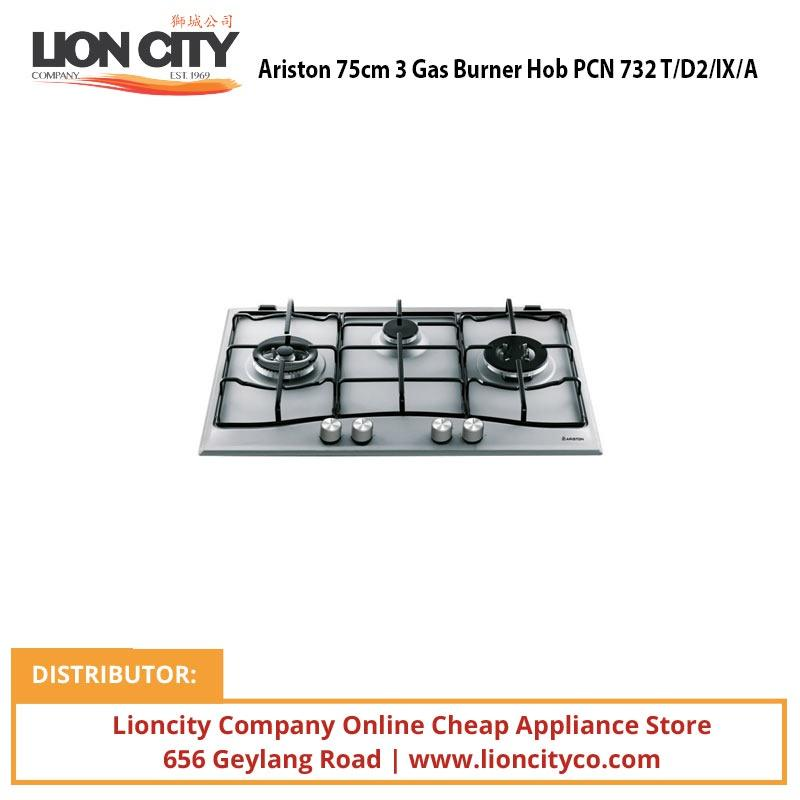 Ariston 75cm 3 Gas Burner Hob PCN 732 T/D2/IX/A