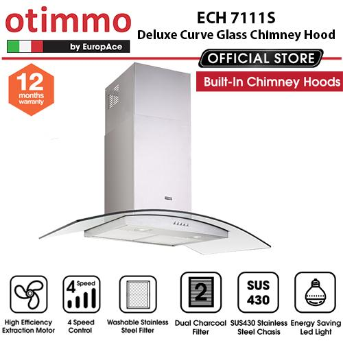 Europace ECH7111S Deluxe Curve Glass Chimney Hood + EBH6381S 3 Burner 80cm Slim Hob (Schott Glass)