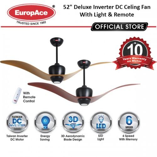 "EuropAce ECF7521S  52"" Deluxe Inverter DC Celing Fan With Light & Remote"