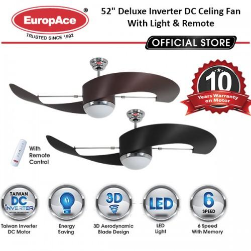 "EuropAce Ecf7552S 52"" DELUXE INVERTER DC MOTOR CEILING FAN WITH LED LIGHT"
