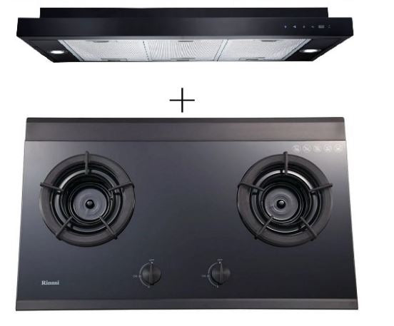 Rinnai RH-S329-PBR SLIMLINE Hood + Rinnai RB-2Gi-LPG 2 Inner Burner Built-In Hob Tempered Glass (Black)
