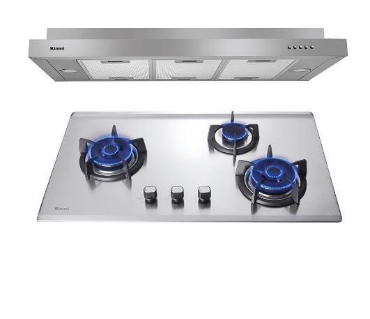 Rinnai RH-S269-SSR Slim Hood & RB-93US S/S Hob with three burner