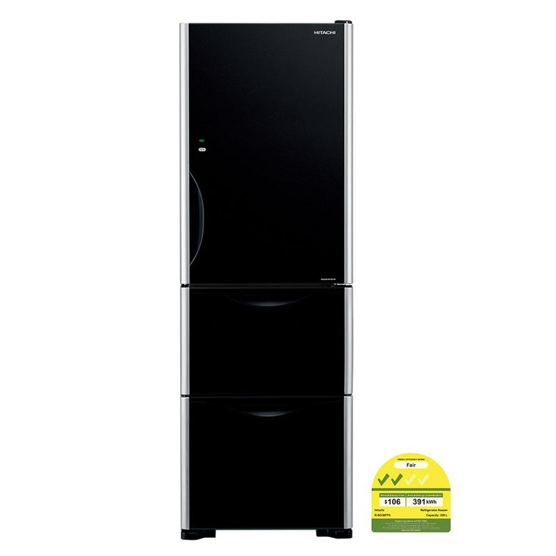 Hitachi Refrigerator RSG38FPS GBK/GS  Glass BLACK & SILVER Solfege Glass 375L - Lion City Company