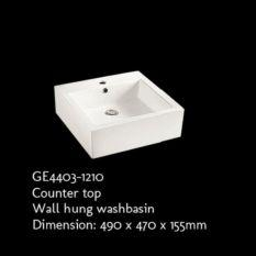 Rubine GE4403-1210 Ceramic Countertop / Wall-hung Washbasin (White) - Lion City Company
