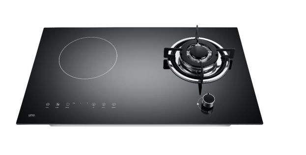 UNO UK7338 73cm Gas-Induction Hybrid glass hob