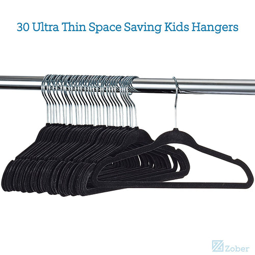 Premium Velvet Childrens Hangers, 30 Pack - Non Slip Baby Clothes Hangers, Heavy Duty Kids Coat Hanger, Ultra Thin Space Saving, 360° Swivel Hook - Velvet Hangers Fits Kid, Nursery Toddler - 27.9 cm