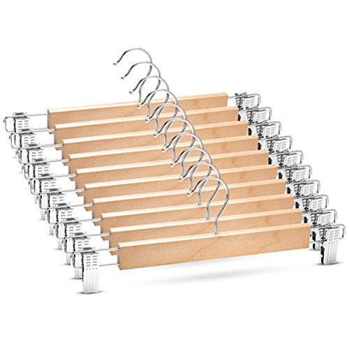 10-Pack Natural Wooden Skirt Hanger with 2 Metal Clips