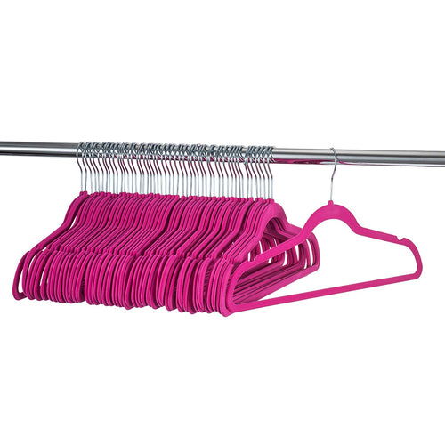 Premium Quality Space Saving Velvet Hangers Strong and Durable Hold Up To 10 Lbs - 360 Degree Chrome Swivel Hook - Ultra Thin Non Slip Suit Hangers - (Pink, 100 Pack)