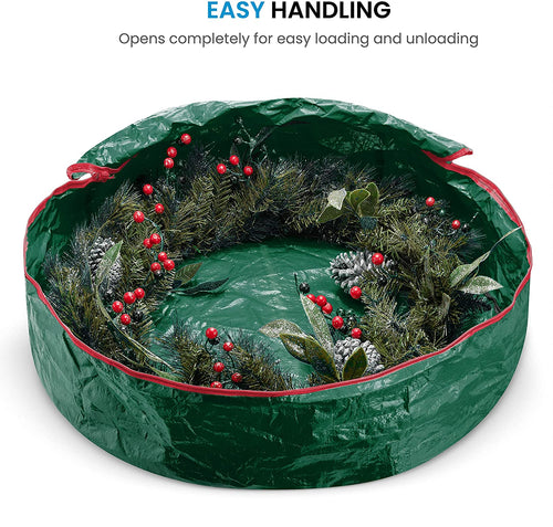 "Waterproof Christmas Wreath Storage Bag Round 24"" x 24"" x 7"" Green"