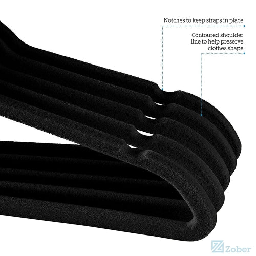Velvet Hangers for Baby, 30 Pack Black