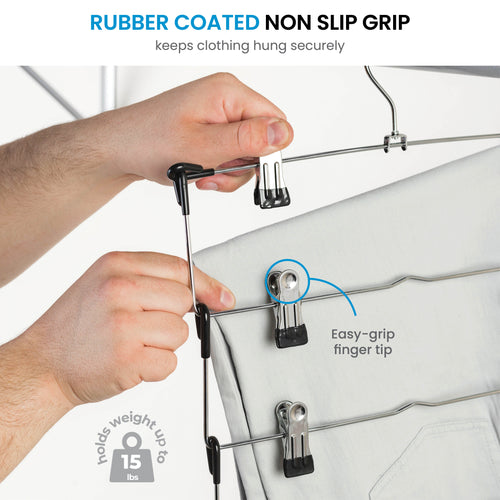 5 Layer Metal Hanger with 2 Hooks, 3-Pack