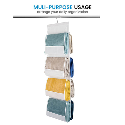 Hanging Purse Organizer, Breathable Nonwoven Handbag, 8 Easy Access Clear Vinyl Pockets, 47 L x 12 W