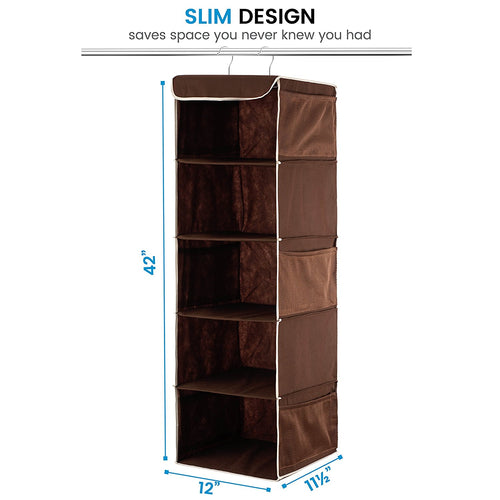 5 Shelf Hanging Closet Organizer Space Saver, Roomy Breathable Hanging Shelves With (6) Side Accessories Pockets, And 2 Sturdy Hooks, For Clothes Storage, And Shoes, Etc. 12 x 11 ½ x 42 In, Java