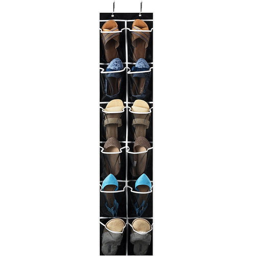Over The Door Shoe Organizer - 12 Breathable Pockets, 6 pairs of shoe 57in x 12in