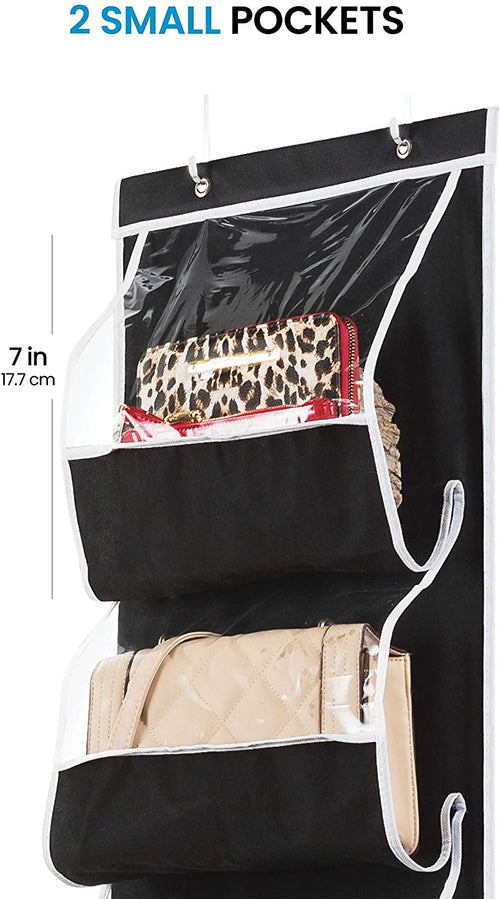 Over the door 6 Pocket Purse Organizer Black