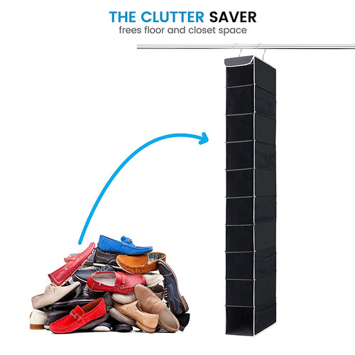 10-Shelf Hanging Organizer Hanging Closet Shoe Organizer with Side Mesh Pockets,