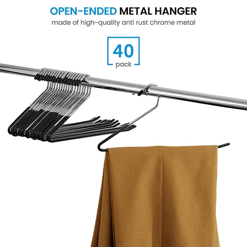 Slack/Trousers Pants Hangers - 40 Pack - Strong and Durable Anti-Rust Chrome Metal Hangers,