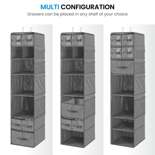 9 Shelf Hanging Closet Organizer with 5 Drawer Organizers, Dorm Room Closet with Foldable Cube Storage Bins