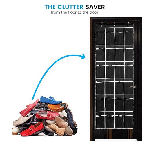 Over the Door Shoe Organizer Black with White Trim