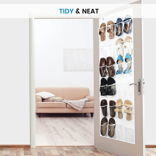 Over The Door Shoe Organizer - 24 Breathable Pockets, 12 pairs of shoe 64in x 18in