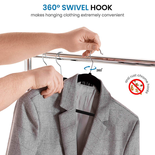 Non-Slip Velvet Hangers - Suit Hangers (50-pack) Ultra Thin Space Saving 360 Degree Swivel Hook Strong and Durable Clothes Hangers Hold Up-To 10 Lbs, for Coats, Jackets, Pants, and Dress Clothes