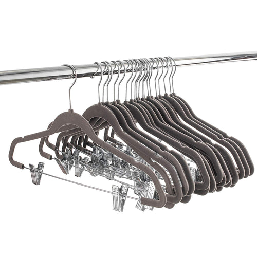 Gray Velvet Skirt Hangers with Clips - 20 Pack
