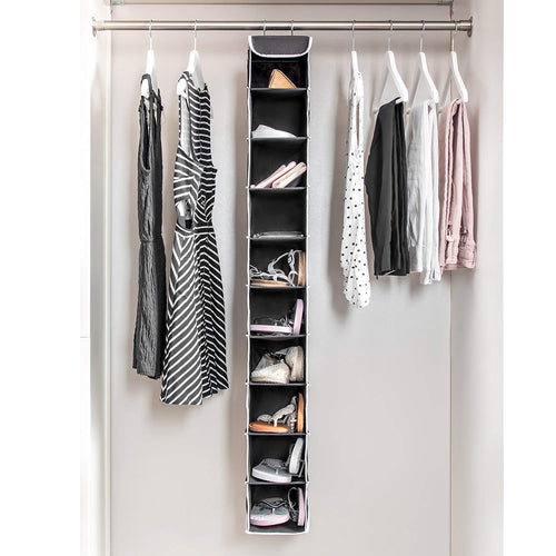 10-Shelf Hanging Closet Organizer Space Saver, with Side Mesh Pockets, Black