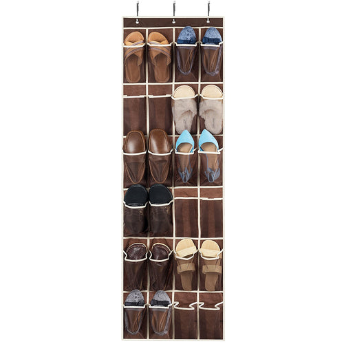 Over The Door Shoe Organizer - 24 Breathable Pockets, Hanging Shoe Holder for Maximizing Shoe Storage, Accessories, Toiletries, Laundry Items. 64in x 18in