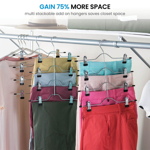 Space Saving 4 Tier Skirt Hanger with Adjustable Clips 6 Pack 4-on-1 Hanger