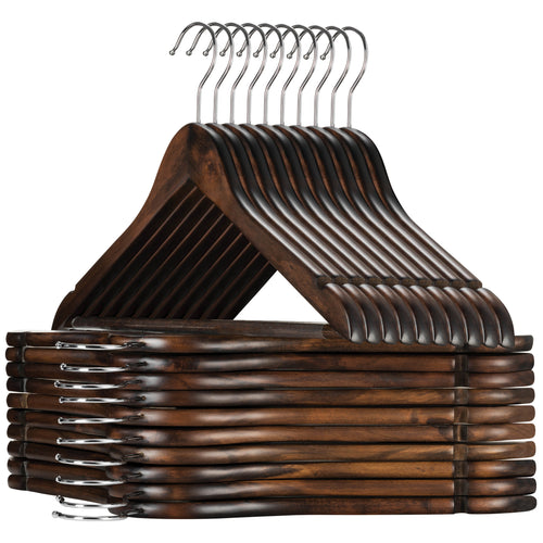 30-Pack Vintage Wooden Suit Hangers