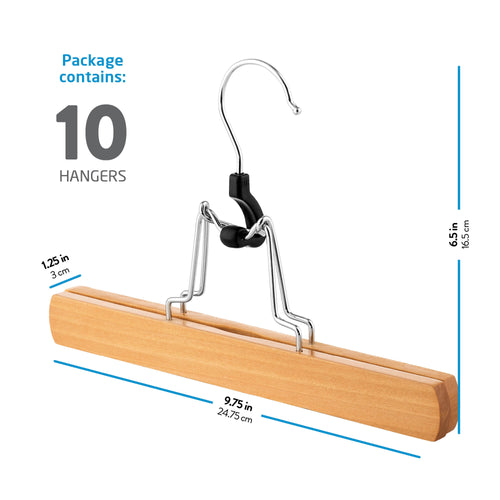 10-Pack Natural High-Grade Wooden Skirt/Pants Hanger