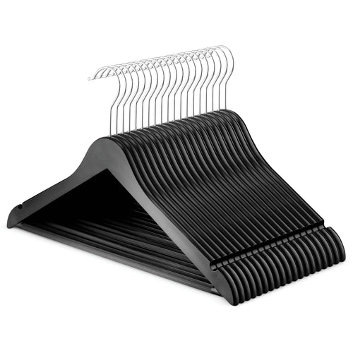 Black Plastic Wood-Like Hangers 10-Pack