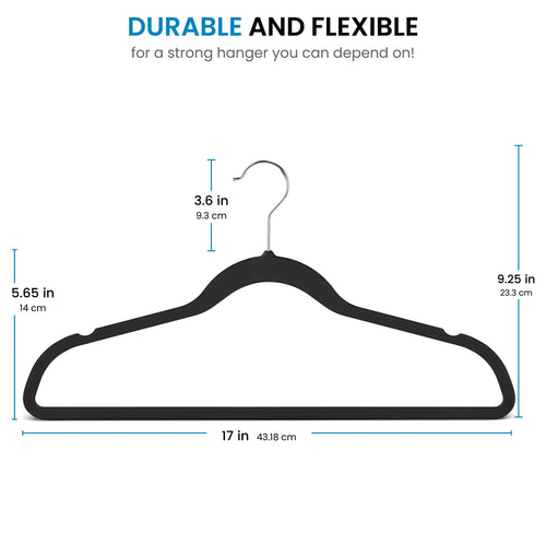 Black Rubber-Coated Plastic Suit Hanger 25-Pack