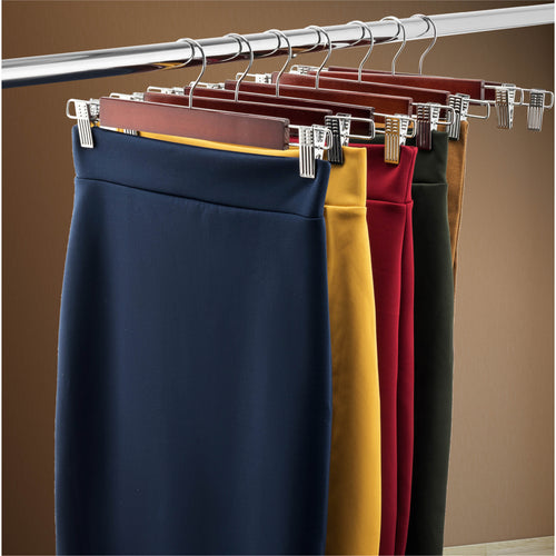 10-Pack Cherry Wooden Skirt Hanger with 2 Metal Clips