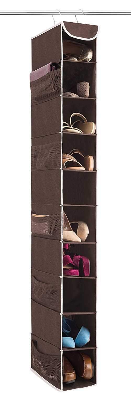 "10-Shelf Hanging Shoe Organizer, Shoe Holder for Closet - 10 Mesh Pockets for Accessories - Breathable Polypropylene, Java - 5 ½"" x 10 ½"" x 54"""