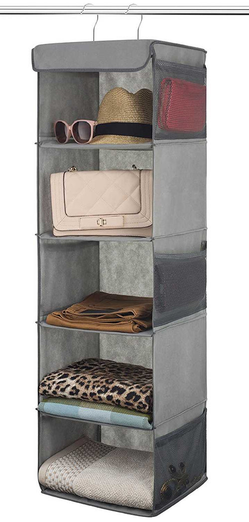 5 Shelf Hanging Closet Organizer Space Saver, Roomy Breathable Hanging Shelves With (6) Side Accessories Pockets, And 2 Sturdy Hooks, For Clothes Storage, And Shoes, Etc. 12 x 11 ½ x 42 In, Gray