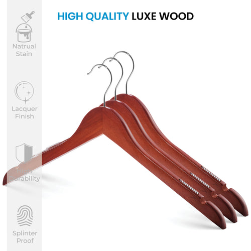 20-Pack Cherry Wooden Suit Hanger with Anti-Slip Feature