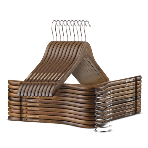 10-Pack Vintage Wooden Suit Hanger with Anti-Slip Feature