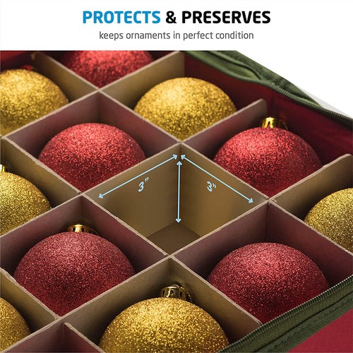 Christmas Ornament Storage Box for 64, Non-Woven 13.5