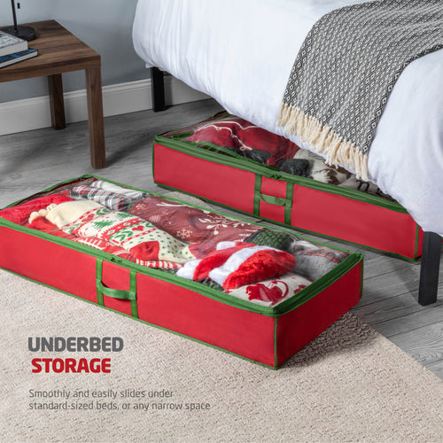 2-Pack Underbed Accessory Storage Bag for Holiday Accessories Non-Woven 6