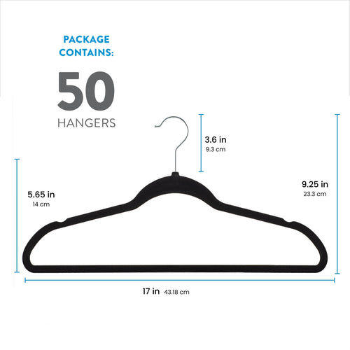 Black 50-Pack Standard Adult Clothes Hanger with Pants Bar and Notches