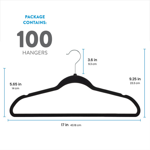 Black 100-Pack Standard Adult Clothes Hanger with Pants Bar and Notches